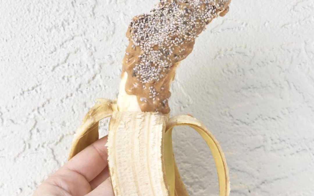 Banana with Peanut Butter & Chia Seeds