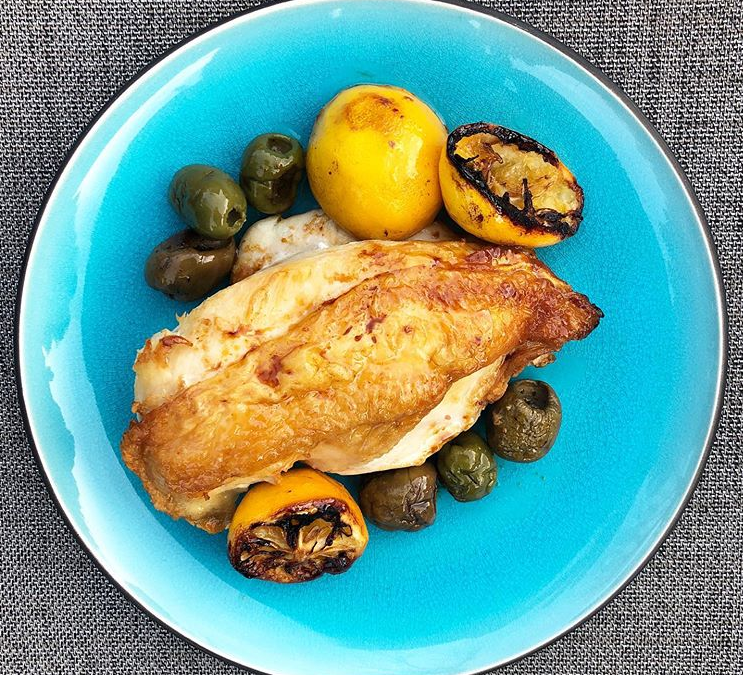 Roasted Chicken with Caramelized Lemons and Green Olives